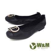W&M (女)圓頭蝴蝶D鑽 娃娃鞋 平底鞋 女鞋 -黑(另有米)