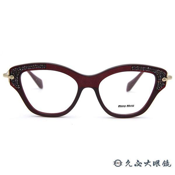 Miu Miu 眼鏡 貓眼 奢華鑽飾 近視眼鏡 VMU07 TKW-1O1 酒紅-金 久必大眼鏡