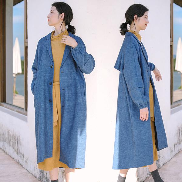 風衣-泡泡袖進口色織棉中長版文藝休閒外套/設計家 W9832