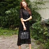 歐媛韓版 新款洋裝時尚氣質 圓領單排扣高腰顯瘦 蕾絲長裙女神范連身裙女 店慶降價