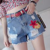 出清$188 韓系刺繡花毛邊破洞顯瘦流蘇牛仔單品短褲