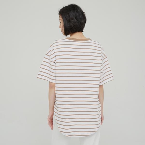 Gap女裝 簡約風格純色質感厚磅短袖T恤 629535-駝色條紋