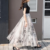 長裙 2020新夏款兩穿8米大擺雪紡半身裙女飄逸印花仙女裙