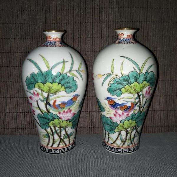 清乾隆夏季粉彩荷花花鳥梅瓶 全手工精品仿古工藝瓷器擺件收藏1入