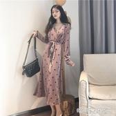 長洋裝 洋裝秋裝2018新款名媛氣質V領修身顯瘦長款波點長袖高冷範女裝 嬌糖小屋