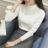 秋冬新品半高領緊身針織衫打底衫女長袖冰絲毛衣薄款修身上衣