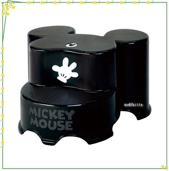 asdfkitty可愛家☆迪士尼米奇酷黑防滑階梯椅/墊腳椅/刷牙洗澡上廁所墊高-日本製