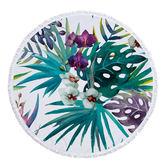 沙灘巾 植物 彩繪 印花 流蘇 野餐巾 海灘巾 圓形沙灘巾 150*150【YC006】 BOBI  04/03