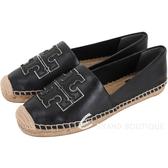 TORY BURCH Ines 雙T金屬色鑲邊納帕牛皮草編鞋(黑色) 1920647-01