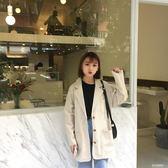 秋裝女裝韓版寬鬆顯瘦休閒棉麻西裝女上衣百搭中長款長袖翻領外套  多莉絲旗艦店