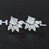 耳環 925純銀 鑲鑽-精美動人情人節生日禮物女飾品2色73hz98【時尚巴黎】