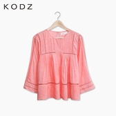 東京著衣【KODZ】鏤空織帶拼接棉質上衣-S.M(5025633)