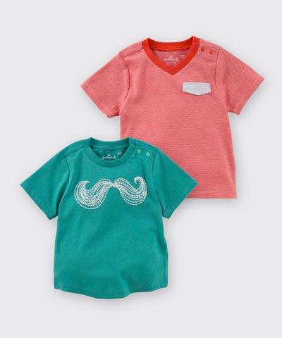 Hallmark Babies 鬍子及條紋純棉短袖上衣 (兩件裝) HD1-R14-01-KB-PR
