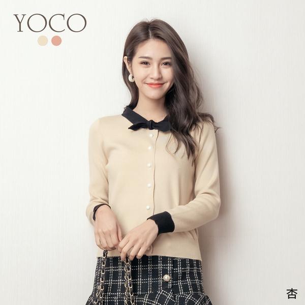 東京著衣【YOCO】YOCO-甜心千金撞色小領結針織上衣(191336)