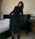 VOG 黑色網紗半身裙女中長款很仙的裙子...