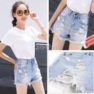 春夏秋新款牛仔短褲子女學生韓版寬鬆高腰破洞潮流百搭顯瘦裝