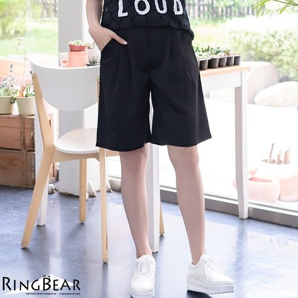 寬褲--韓版率性俐落輕鬆自在素色款打摺後鬆緊雙口袋五分寬褲(黑.卡其XL-4L)-R175眼圈熊中大尺碼
