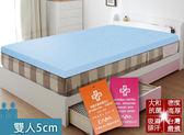 床墊 日本大和 抗菌 防蟎 透氣 5cm 床墊-雙人-藍 KOTAS