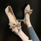 低跟鞋 平底單鞋女新款豆豆鞋蝴蝶結網紅百搭尖頭仙女溫柔低跟工作鞋