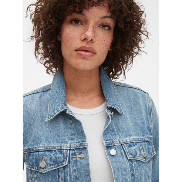 Gap女裝 大廓形直筒鈕扣長袖牛仔夾克 417121-中度水洗