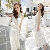 短袖洋裝 歐洲站名媛氣質性感蕾絲修身中長款連身裙波西米亞長裙沙灘裙夏女
