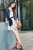單一優惠價[H2O]小花印花七分袖連身短褲裙 - 藍色/白色 #8674001