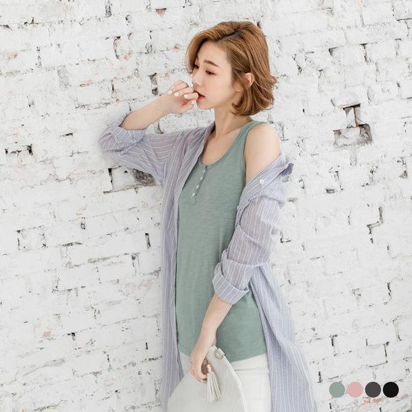 OB嚴選《AB0716-》素色竹節棉排釦不修邊造型無袖上衣.4色--適 S~L