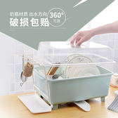 八折虧本促銷沖銷量-廚房放碗櫃塑膠帶蓋瀝水架碗碟架碗架裝碗筷收納箱收納盒置物架jy 免運費