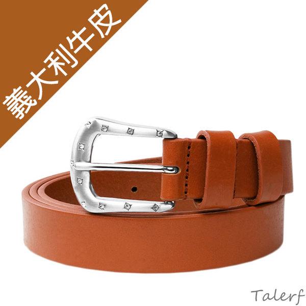 TALERF細版淑女皮帶(棕色/共3色)-女 /真皮 牛皮/台灣製造
