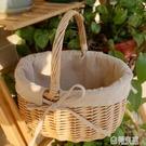 柳編野餐籃手提籃購物籃提籃花籃禮品包裝籃采摘籃子踏青籃野餐籃 ATF 極有家