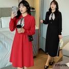 (現貨+預購FUWAFUWA)- 加大尺碼針織長袖洋裝小禮服