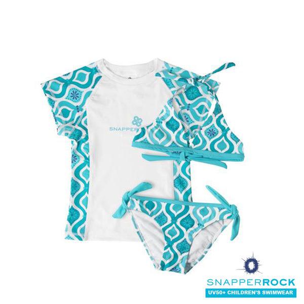 兒童泳衣 _女童短袖防曬 UPF 50+上衣+比基尼式泳衣/ 美國Snapper Rock_水藍色美人魚