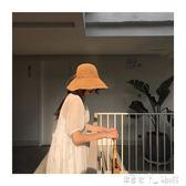沙灘帽 韓版手工編織草帽子女夏天可折疊沙灘帽小清新防曬遮陽帽 「潔思米」