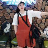 夏季新款大碼女裝200斤時尚胖MM加肥加大碼減齡背帶短褲五分褲女