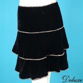 【Deluxe】古典浪漫層次感豹紋印花絨布短裙(黑)
