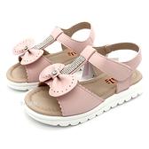 《7+1童鞋》日本娃娃 DOLLS 璀璨片鑽 嫩粉蝴蝶結 休閒涼鞋 E154 粉色