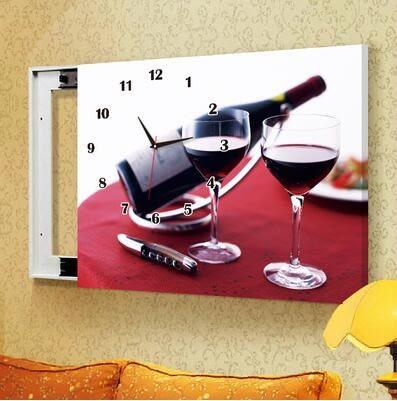 C32款電箱簡約現代壁畫帶鐘錶可推拉遮擋電錶箱裝飾畫-60x50(內徑50*40)