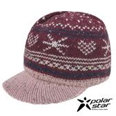 【PolarStar】女 星心保暖馬球帽『紅』P19601 羊毛帽 毛球帽 針織帽 毛帽 毛線帽 帽子