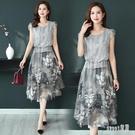 2020夏天新款裙子女中年媽媽洋裝夏裝洋氣顯瘦時尚氣質短袖雪紡連身裙 LR23373『Sweet家居』