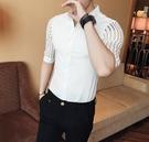 FINDSENSE品牌 男 時尚 潮 薄款 蕾絲拼接條紋 修身 中袖襯衫 七分袖