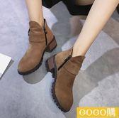 馬丁靴磨砂粗跟中跟圓頭女靴