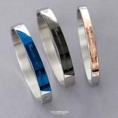 鋼製英文刻字單鑽情侶手環【NA437】單個
