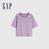 Gap女童 Logo純棉質感厚磅短袖T恤 770922-紫色條紋