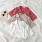 雪紡上衣ins超火雪紡襯衫夏季2020新款女裝韓版小眾設計感西裝領短袖襯衣 衣間迷你屋