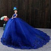(中秋大放價)芭芘比套裝婚紗洋娃娃拖尾公主兒童生日新年禮物女孩玩具3D高端大號