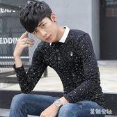 polo衫男士長袖男薄款翻領修身青少年韓版個性t恤   LY8703『美鞋公社』