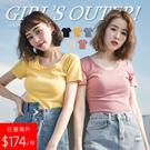 兩件348元-G-細坑條圓領上衣-5色 ...