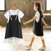 女童牛仔背帶裙新款中大童洋氣兩件套連身裙夏裝短袖T恤套裝  薔薇時尚
