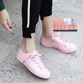 雨靴 可愛低幫雨鞋女時尚外穿淺口平底防水鞋防滑短筒果凍膠鞋學生aj513【愛尚生活館】