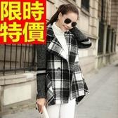 毛呢外套-大翻領雙排扣中長版美麗諾羊毛女大衣2色63ae25【巴黎精品】